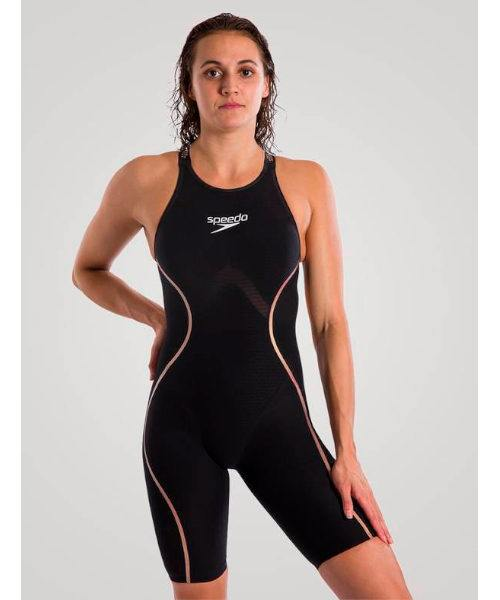 Speedo LZR Pure Intent Open Back Kneeskin Sort Guld 500x600 - Speedo LZR Pure Intent Open Back Kneeskin - Sort/Guld