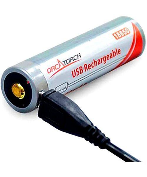 OrcaTorch 18650 batteri m. USB opladning - OrcaTorch 18650 batteri m. USB-opladning
