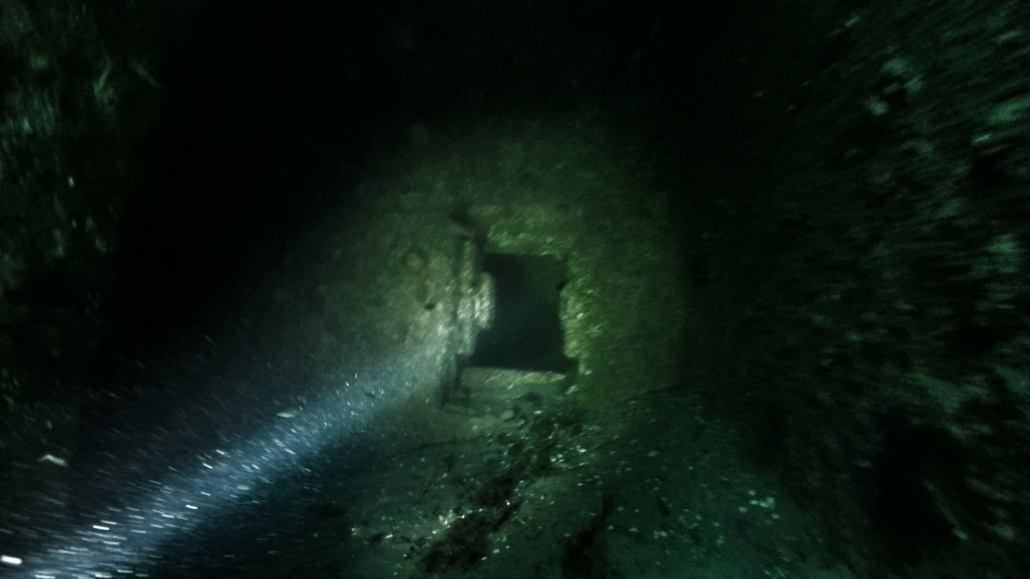 Dykkerlygten lyser i et vrag